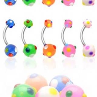 Piercing do pupku viacfarebné bodky - Farba piercing: Biela
