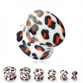 Plug do ucha biely, vzor leopard - Hrúbka: 10 mm