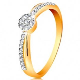 Prsteň v 14K zlate - prekrížené dvojfarebné línie ramien, okrúhly zirkónový kvietok - Veľkosť: 49 mm