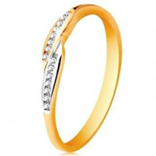 Prsteň v 14K zlate, rozšírené dvojfarebné konce ramien so vsadenými zirkónmi - Veľkosť: 49 mm