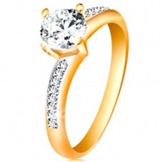 Prsteň v 14K zlate - žiarivý okrúhly zirkón čírej farby, zirkónové ramená - Veľkosť: 49 mm