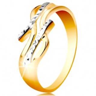 Prsteň zo 14K zlata - dvojfarebné, rozdelené a zvlnené ramená, ligotavé zárezy - Veľkosť: 48 mm