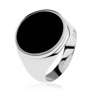 Prsteň zo striebra 925 s čiernym glazúrovaným kruhom - Veľkosť: 54 mm