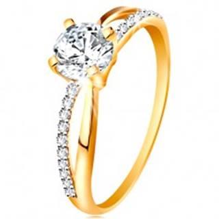Prsteň zo zlata 585 - prekrížené rozdvojené ramená, okrúhly zirkón čírej farby - Veľkosť: 48 mm