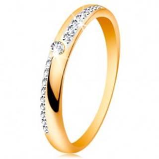 Prsteň zo zlata 585 - úzke línie z čírych ligotavých zirkónikov, lesklé ramená, zirkón - Veľkosť: 50 mm