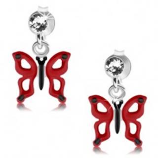 Puzetové náušnice, striebro 925, číry krištáľ Swarovski, červeno-čierny motýľ