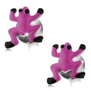 Puzetové náušnice, striebro 925, ružovo-čierna glazúrovaná žabka