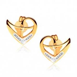 Puzetové náušnice z 9K zlata, obrys nepravidelného srdca, dvojfarebné