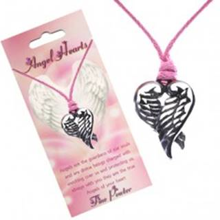 Ružový náhrdelník - prívesok srdca z prekrížených krídiel