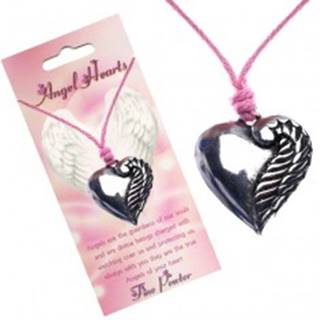Ružový náhrdelník, srdce striebornej farby s jedným krídlom