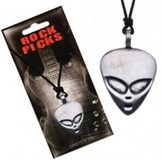 Šnúrkový náhrdelník - čierny, plochá hlava mimozemšťana