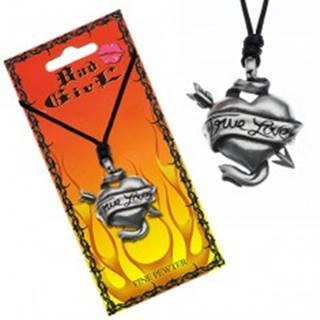 Šnúrkový náhrdelník - prestrelené srdce, stuha, TRUE LOVE