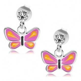 Strieborné náušnice 925, motýľ s fialovými krídlami, žlté slzičky, číry krištáľ