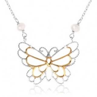 Strieborný náhrdelník 925, kontúra motýlika, vložené perleťové guličky