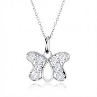 Strieborný náhrdelník 925, prívesok obrys motýľa vykladaný zirkónmi