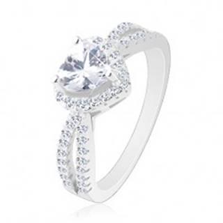 Strieborný prsteň 925, ligotavé zirkónové srdce, rozdvojené číre ramená - Veľkosť: 49 mm