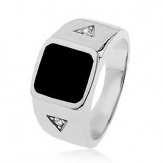 Strieborný prsteň 925, štvorec s čiernou glazúrou, trojuholníky so zirkónom - Veľkosť: 54 mm