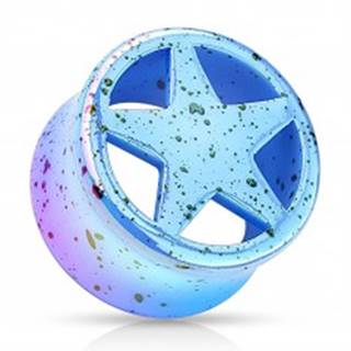 Tunel plug z akrylu modrej farby, vyrezávaná hviezda, čierne škvrny - Hrúbka: 10 mm