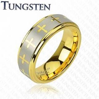 Tungstenový prsteň s motívom kríža  - Veľkosť: 59 mm