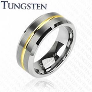 Tungstenový prsteň s pruhom v zlatej farbe, 8 mm - Veľkosť: 49 mm
