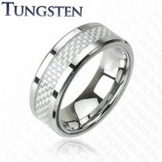 Wolfrámový prsteň - vzor vlákno - Veľkosť: 49 mm