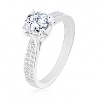 Zásnubný prsteň, striebro 925, zúžené ligotavé ramená, okrúhly zirkón - Veľkosť: 50 mm