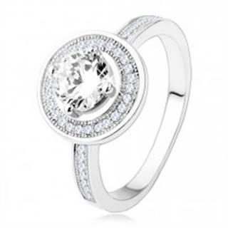 Zásnubný strieborný prsteň 925, kruh a ramená zdobené zirkónmi, číry kameň - Veľkosť: 49 mm