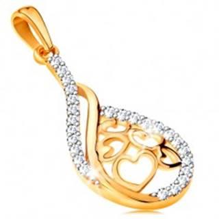 Zlatý 14K prívesok - kvapka so srdiečkami v strede, línie čírych zirkónikov
