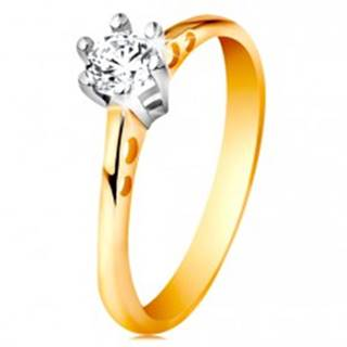 Zlatý 14K prsteň - okrúhle výrezy na ramenách, číry zirkón v kotlíku z bieleho zlata - Veľkosť: 49 mm