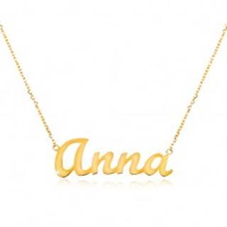 Zlatý nastaviteľný náhrdelník 14K s menom Anna, jemná ligotavá retiazka