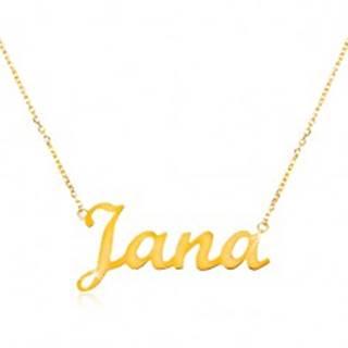 Zlatý nastaviteľný náhrdelník 14K s menom Jana, jemná ligotavá retiazka