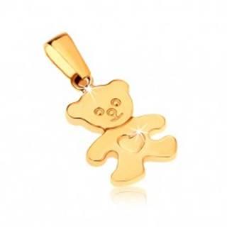 Zlatý prívesok 375 - ligotavý plochý medvedík so srdiečkom na brušku