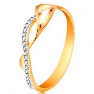 Zlatý prsteň 585 - asymetricky prepletené vlnky - dve hladké a jedna zirkónová - Veľkosť: 49 mm