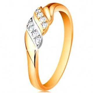 Zlatý prsteň 585 - dve vlnky z bieleho a žltého zlata, trblietavé číre zirkóny - Veľkosť: 49 mm