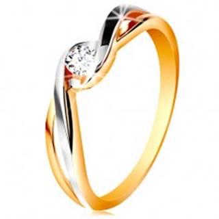 Zlatý prsteň 585 - dvojfarebné, rozdelené a zvlnené ramená, číry zirkón - Veľkosť: 49 mm
