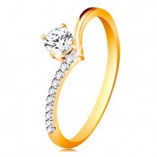 Zlatý prsteň 585 - ramená zahnuté do špica a zirkón čírej farby v kotlíku - Veľkosť: 48 mm