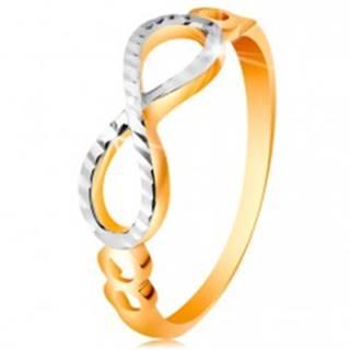 Zlatý prsteň 585 - symbol nekonečna zdobený bielym zlatom a zárezmi - Veľkosť: 49 mm