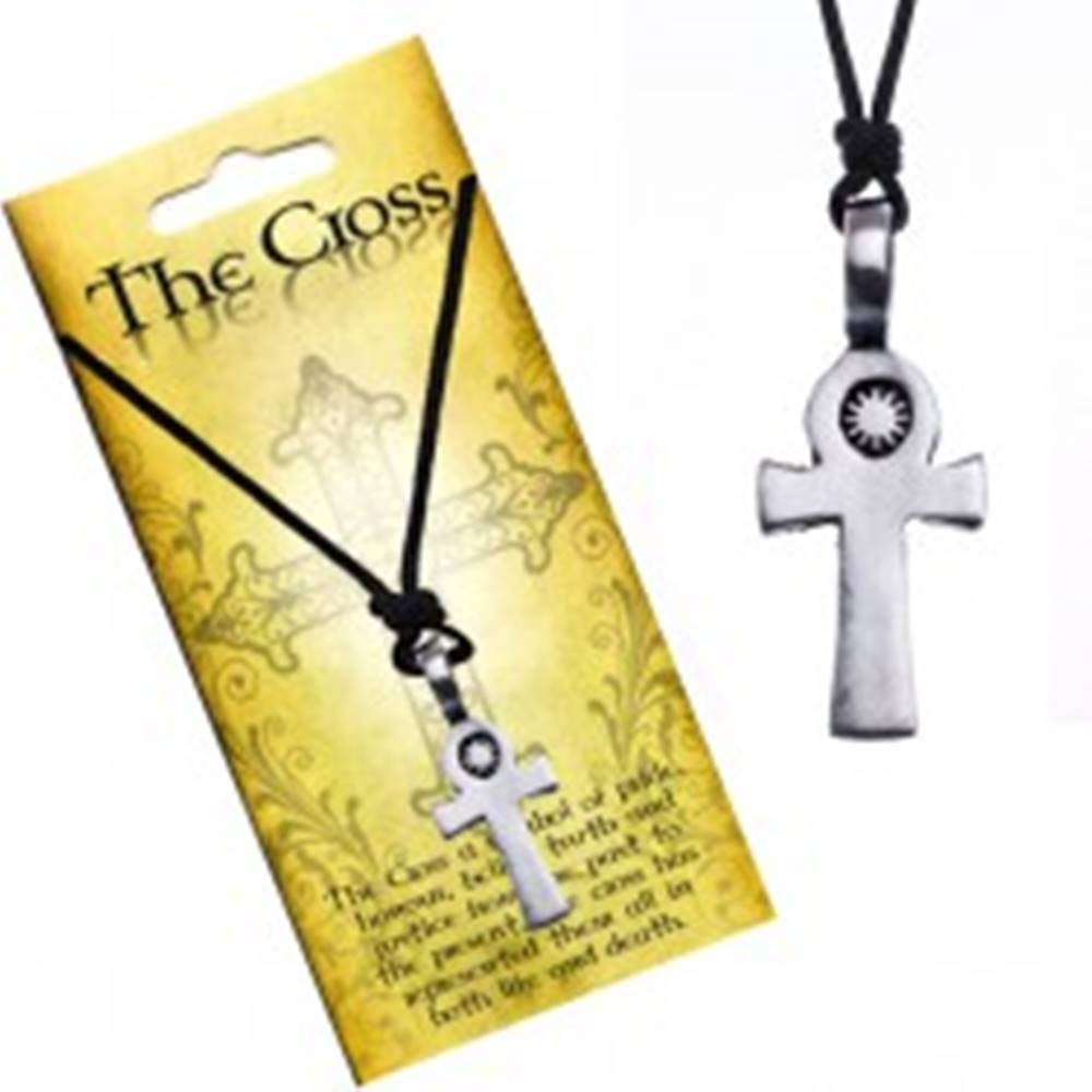 Šperky eshop Čierny šnúrkový náhrdelník, prívesok, kríž so slnkom