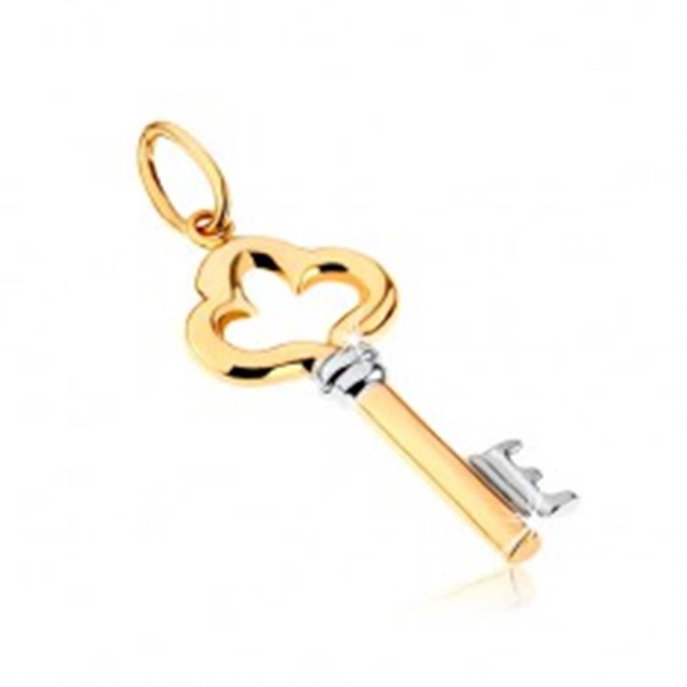 Šperky eshop Dvojfarebný prívesok z 9K zlata - lesklý ozdobne vyrezávaný kľúč