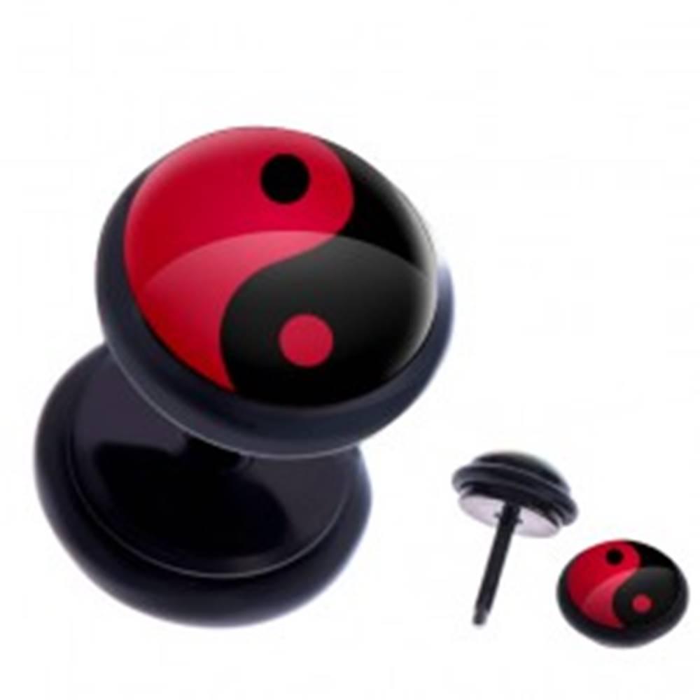 Šperky eshop Fake plug do ucha z ocele - červeno-čierny symbol Jin a Jang