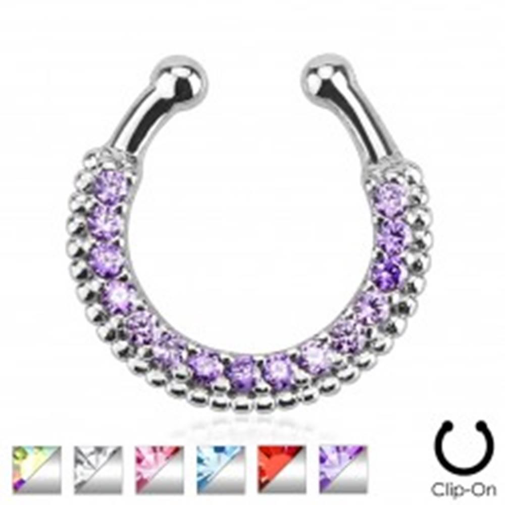 Šperky eshop Falošný piercing do nosa, strieborná farba, podkova, guličky, zirkóny - Farba zirkónu: Aqua modrá - Q