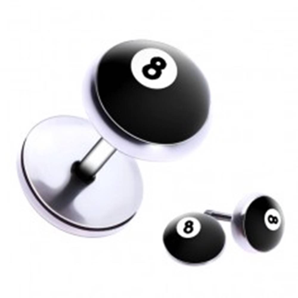 """Šperky eshop Falošný piercing do ucha z ocele - biliardová guľa číslo """"8"""""""