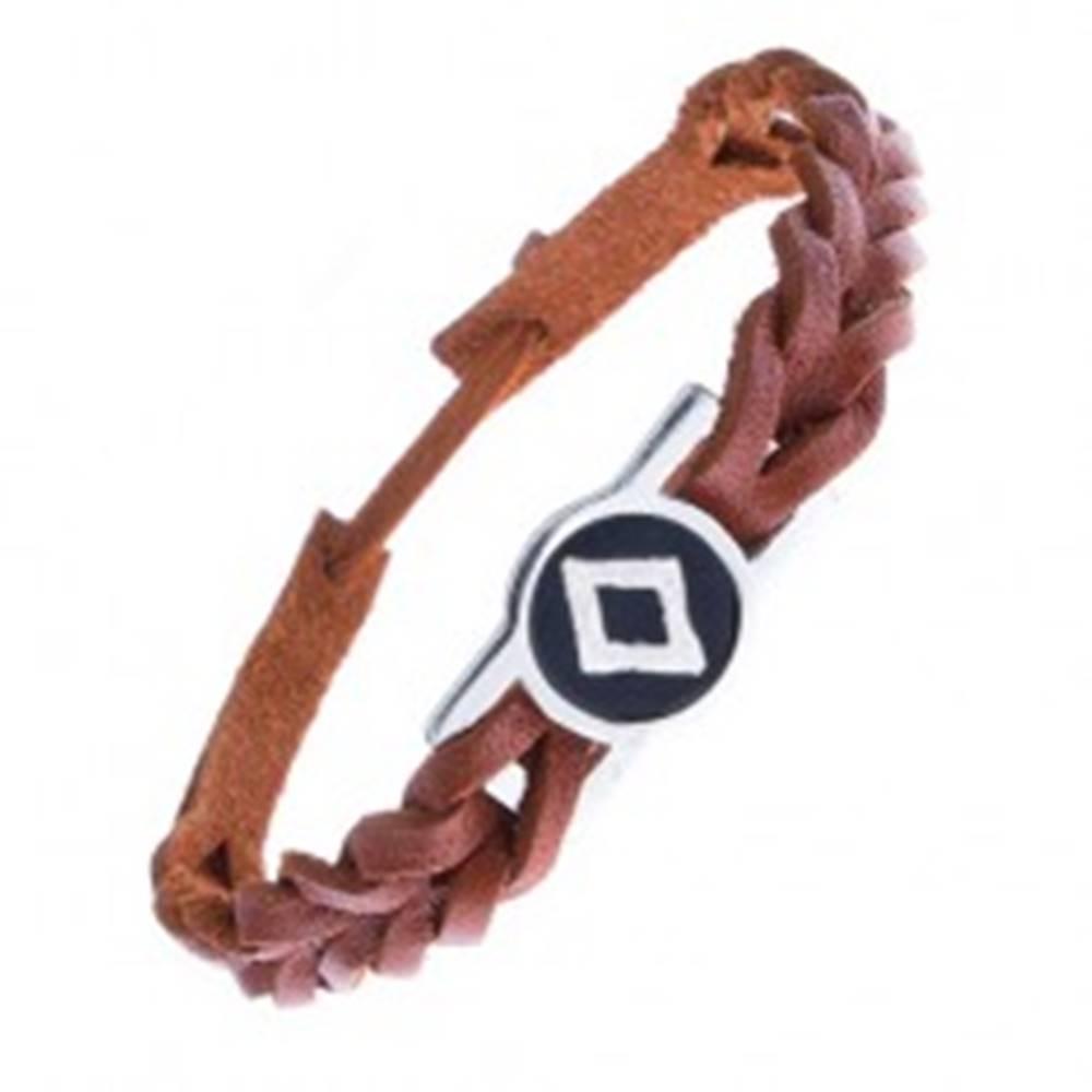 Šperky eshop Karamelovo hnedý náramok na ruku z kože, runa plodnosti