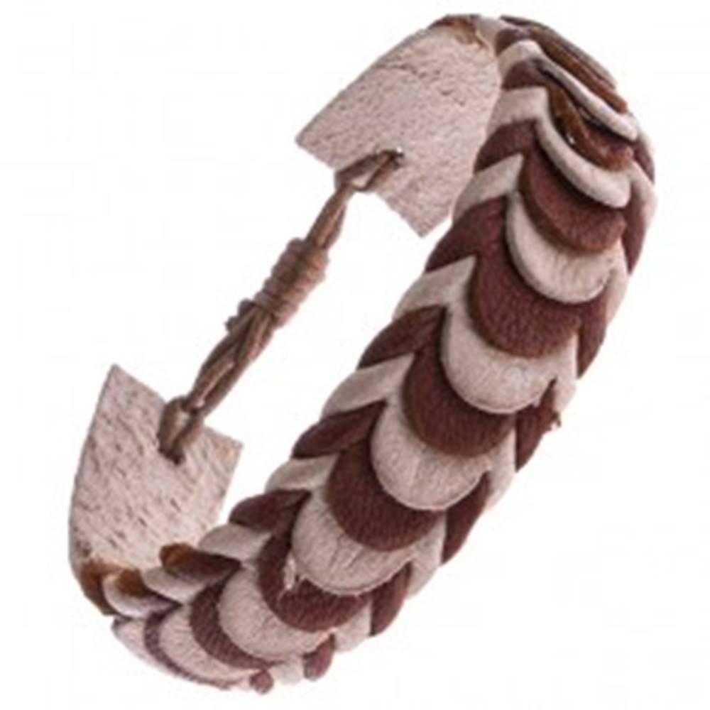 Šperky eshop Kožený náramok – karamelové a béžové prekladané pásy