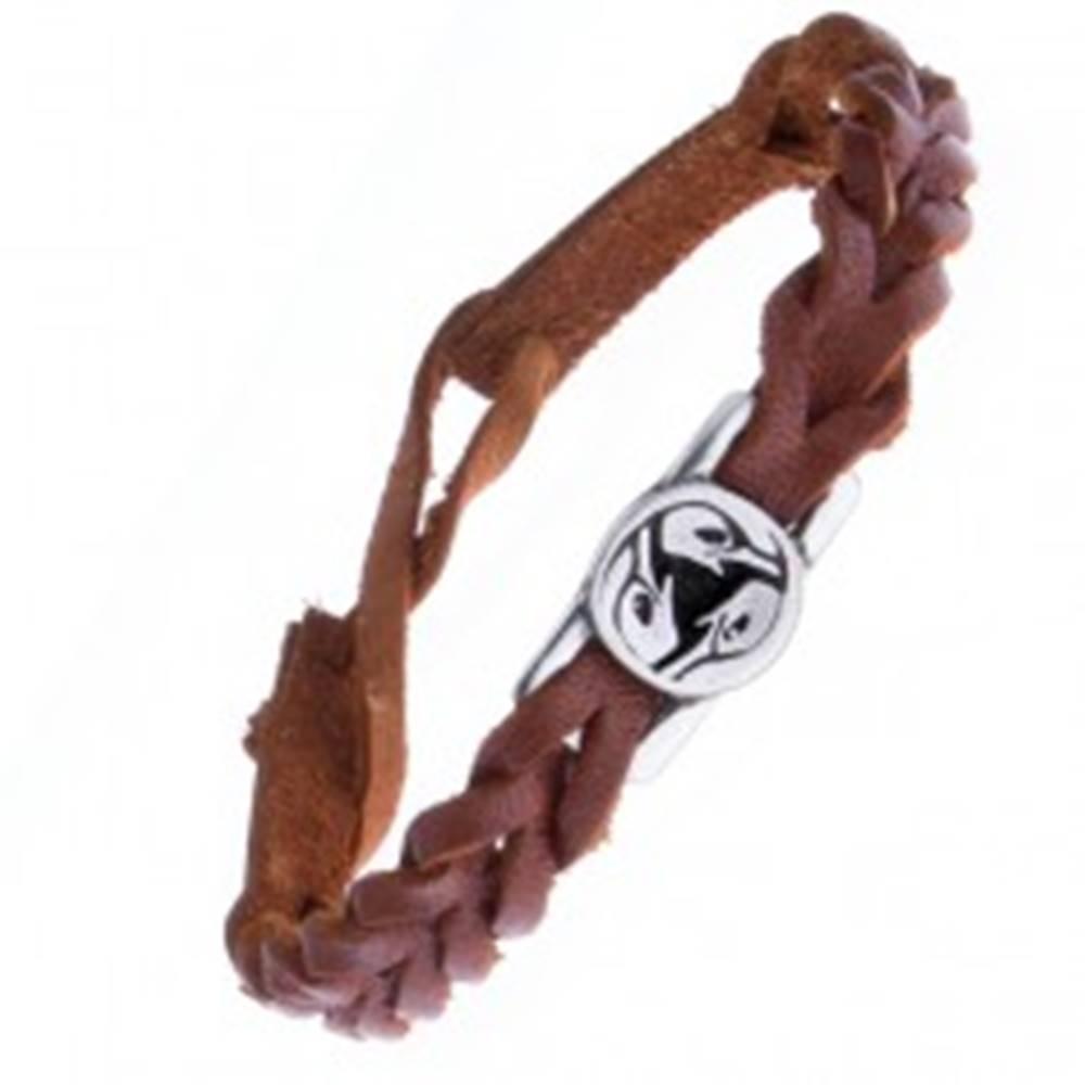 Šperky eshop Kožený náramok - karamelový, pletený, keltský vták na známke