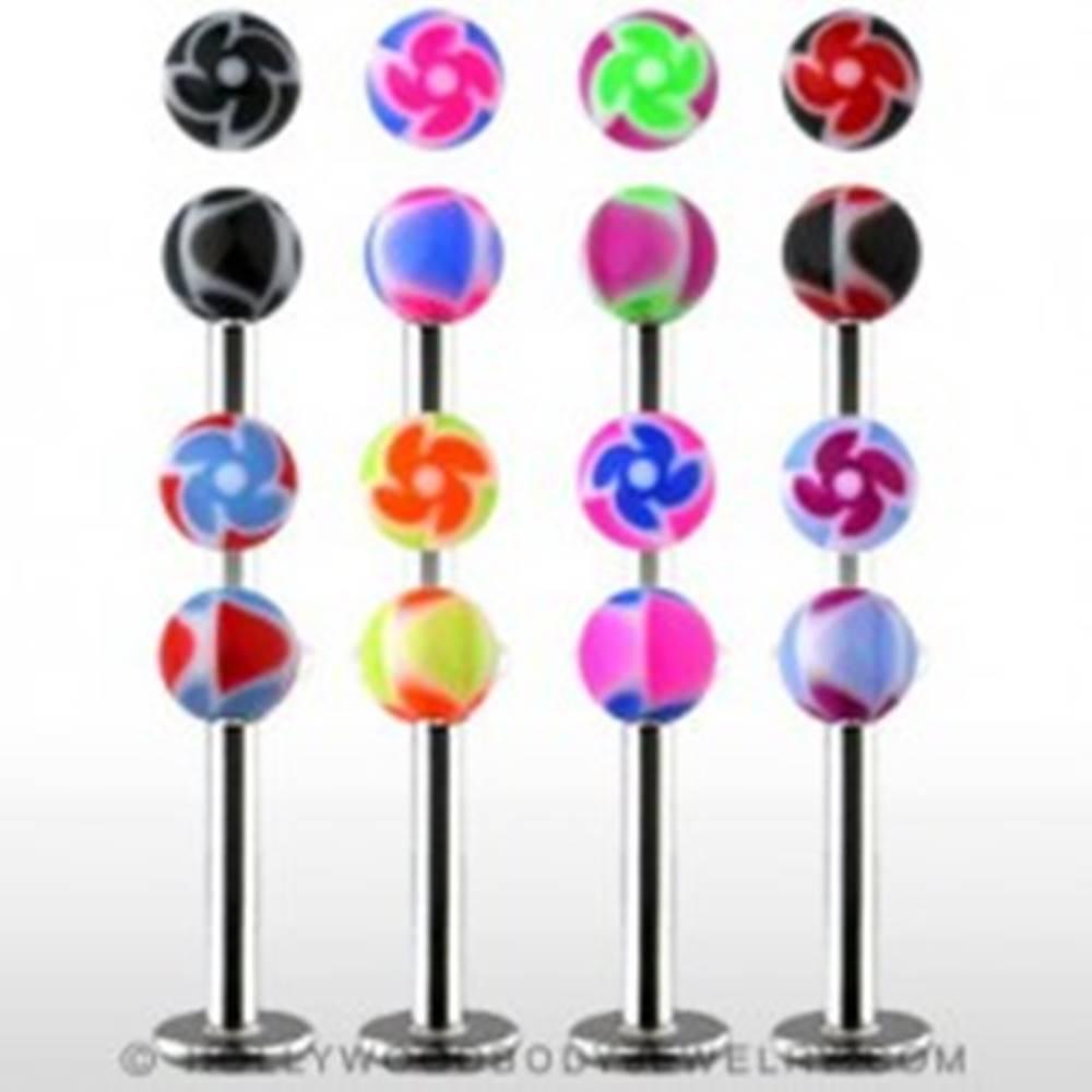 Šperky eshop Labret - farebné guličky s ornamentom špirály - Farba piercing: Biela - Čierna