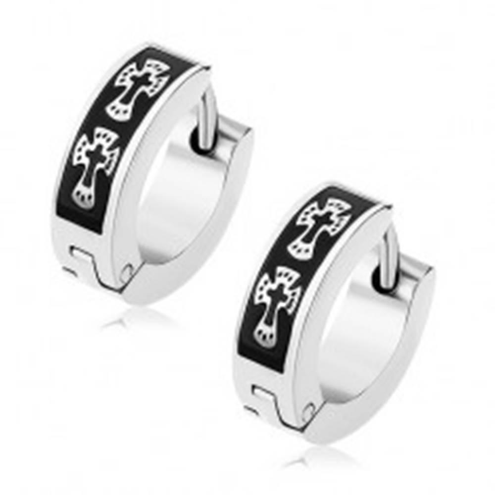 Šperky eshop Lesklé oceľové náušnice striebornej farby, čierny pás, krížiky