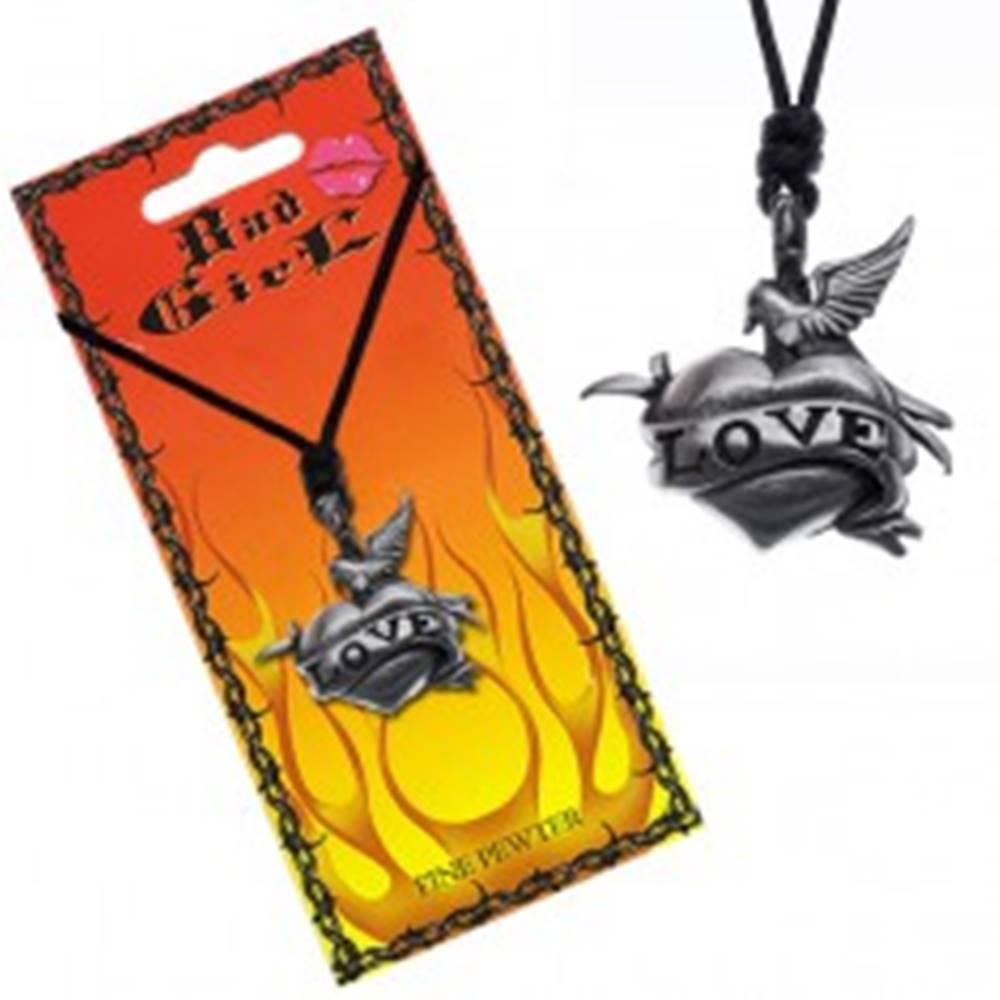 Šperky eshop Náhrdelník s príveskom holubice a srdca, nápis LOVE