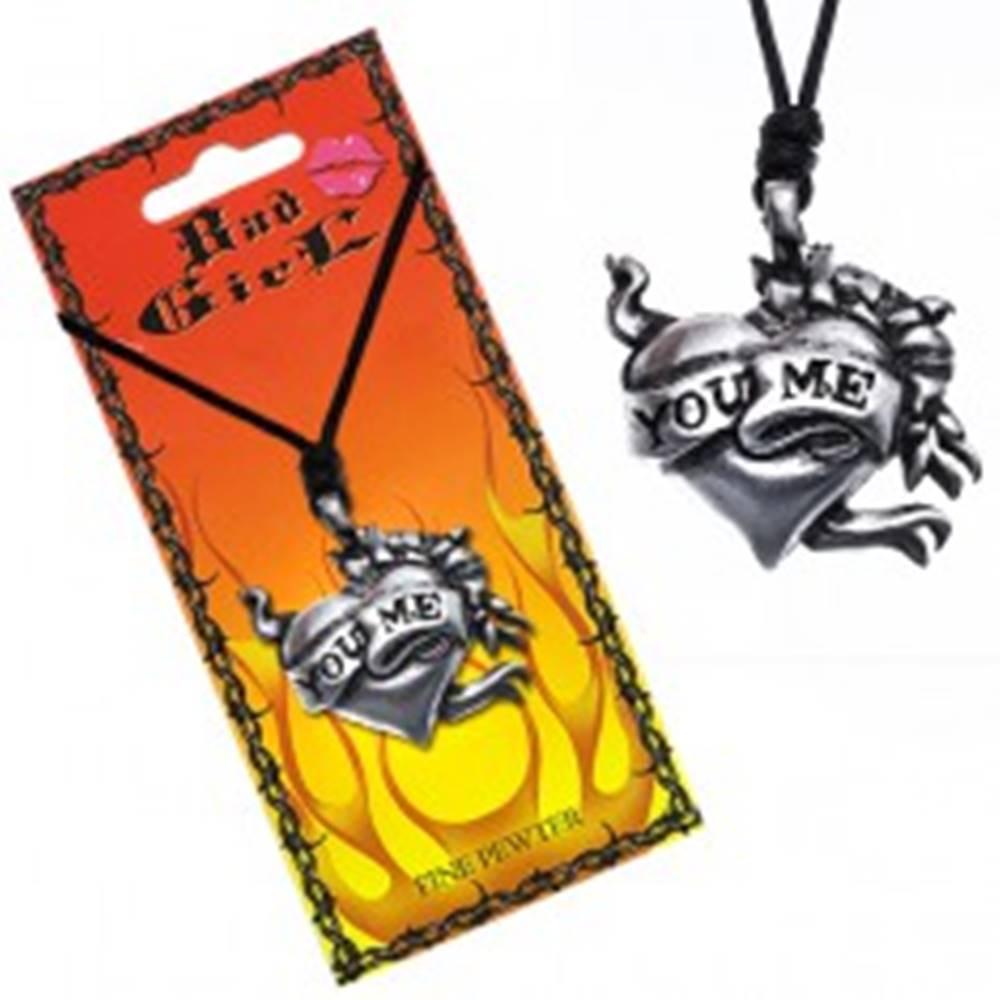 """Šperky eshop Náhrdelník s príveskom srdca, kvety a stuha """"YOU ME"""""""
