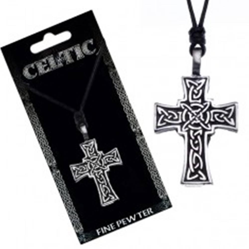 Šperky eshop Náhrdelník so šnúrkou – čierny, keltský kríž